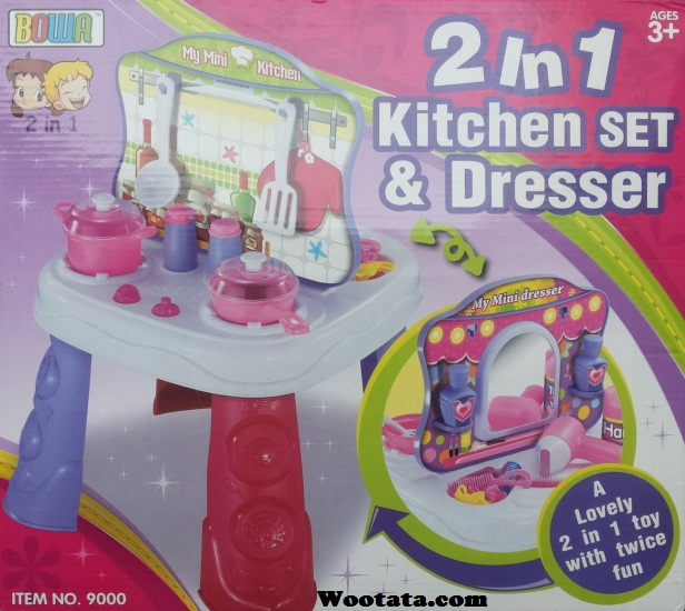 jual mainan anak 2 in 1 kitchen set and dresser 9000