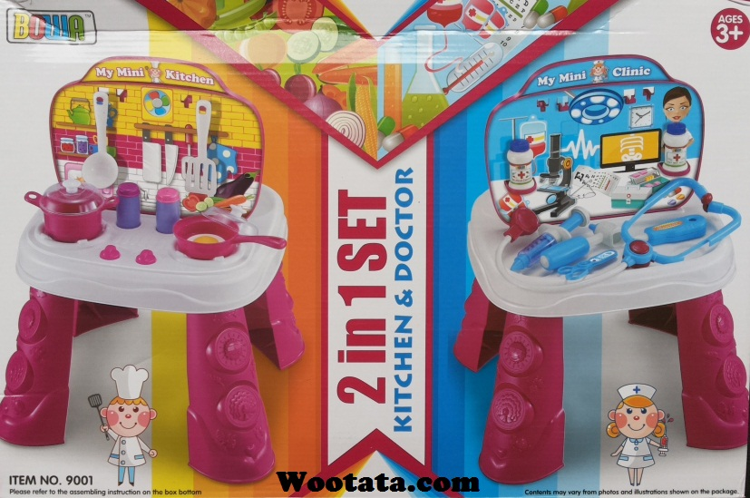 mainan anak 2 in 1 set kitchen and doctor 9001