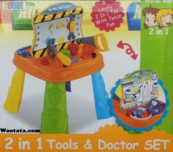 toko mainan perkakas tukang 2 in 1 tools and doctor set 9002