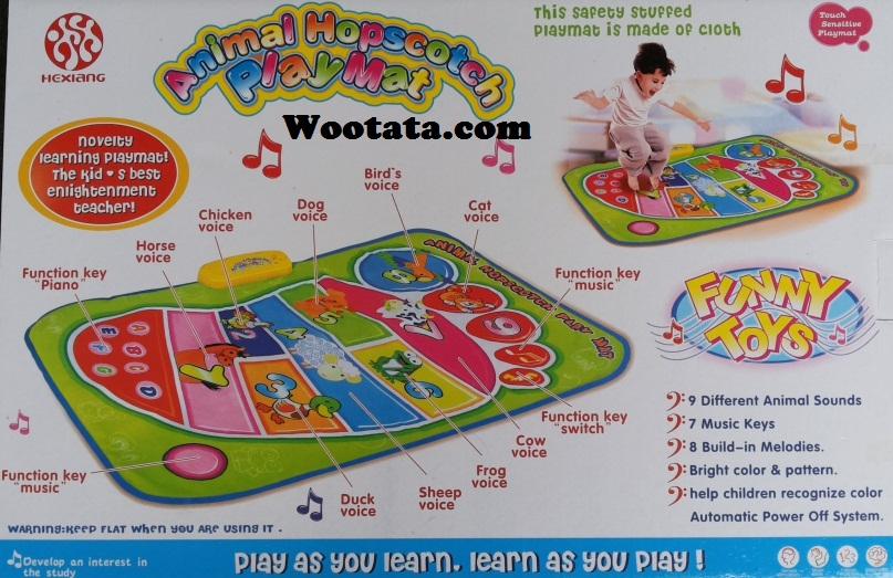 mainan bayi karpet musik animal hopscotch playmat