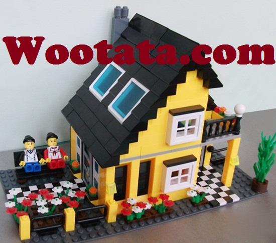 mainan building block creation 32052 bentuk rumah